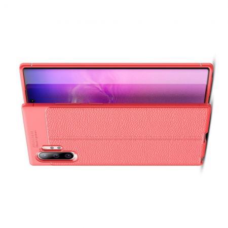 Litchi Grain Leather Силиконовый Накладка Чехол для Samsung Galaxy Note 10 Plus с Текстурой Кожа Коралловый