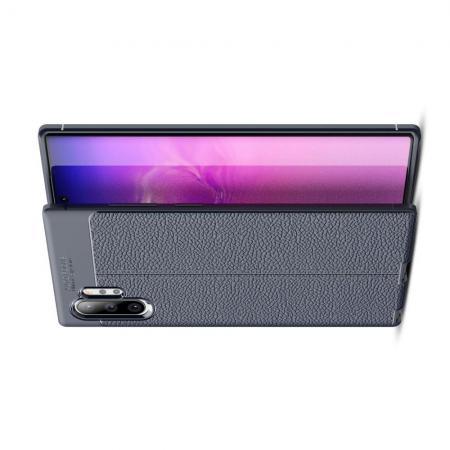 Litchi Grain Leather Силиконовый Накладка Чехол для Samsung Galaxy Note 10 Plus с Текстурой Кожа Синий