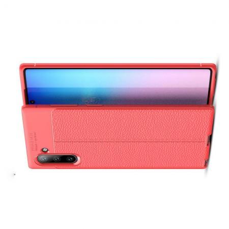 Litchi Grain Leather Силиконовый Накладка Чехол для Samsung Galaxy Note 10 с Текстурой Кожа Коралловый