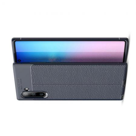 Litchi Grain Leather Силиконовый Накладка Чехол для Samsung Galaxy Note 10 с Текстурой Кожа Синий