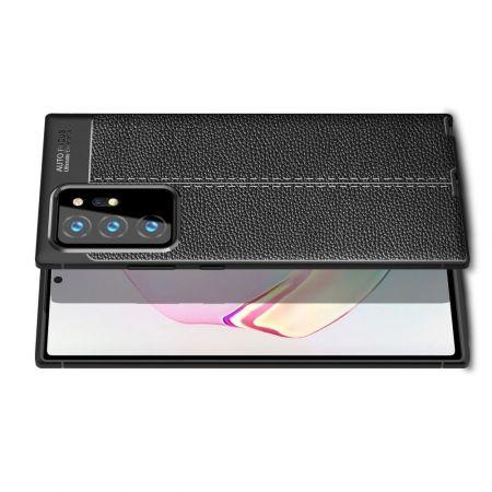 Litchi Grain Leather Силиконовый Накладка Чехол для Samsung Galaxy Note 20 Ultra с Текстурой Кожа Черный