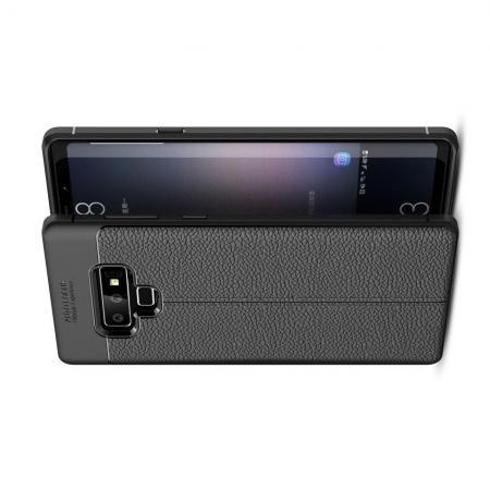 Litchi Grain Leather Силиконовый Накладка Чехол для Samsung Galaxy Note 9 с Текстурой Кожа Черный