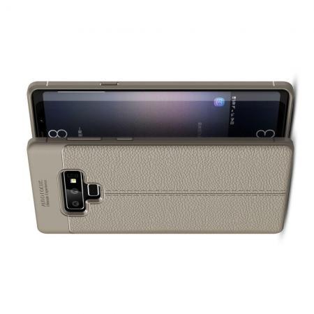 Litchi Grain Leather Силиконовый Накладка Чехол для Samsung Galaxy Note 9 с Текстурой Кожа Серый