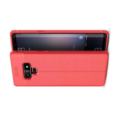 Litchi Grain Leather Силиконовый Накладка Чехол для Samsung Galaxy Note 9 с Текстурой Кожа Красный