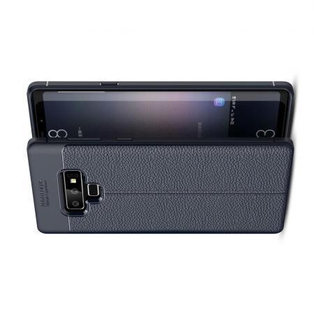 Litchi Grain Leather Силиконовый Накладка Чехол для Samsung Galaxy Note 9 с Текстурой Кожа Синий