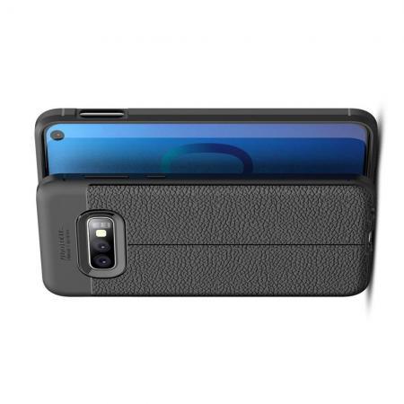 Litchi Grain Leather Силиконовый Накладка Чехол для Samsung Galaxy S10e с Текстурой Кожа Черный