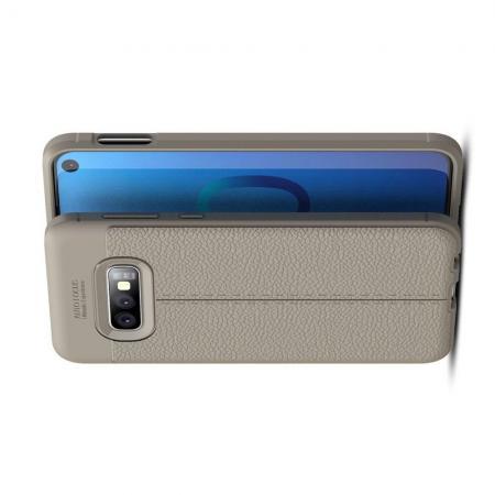 Litchi Grain Leather Силиконовый Накладка Чехол для Samsung Galaxy S10e с Текстурой Кожа Серый