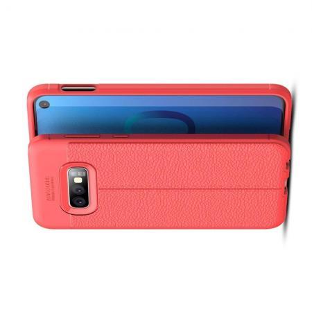 Litchi Grain Leather Силиконовый Накладка Чехол для Samsung Galaxy S10e с Текстурой Кожа Коралловый