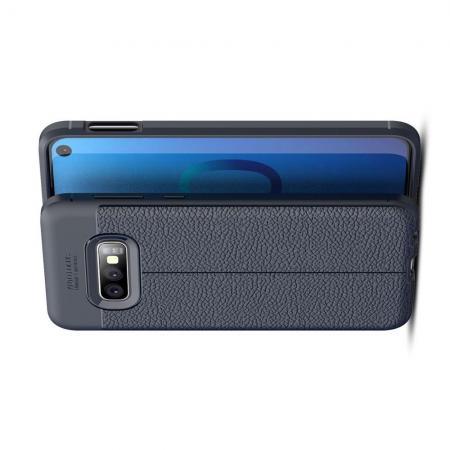 Litchi Grain Leather Силиконовый Накладка Чехол для Samsung Galaxy S10e с Текстурой Кожа Синий