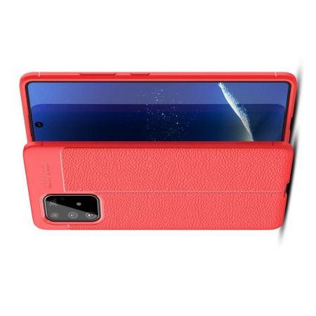 Litchi Grain Leather Силиконовый Накладка Чехол для Samsung Galaxy S10 Lite с Текстурой Кожа Красный