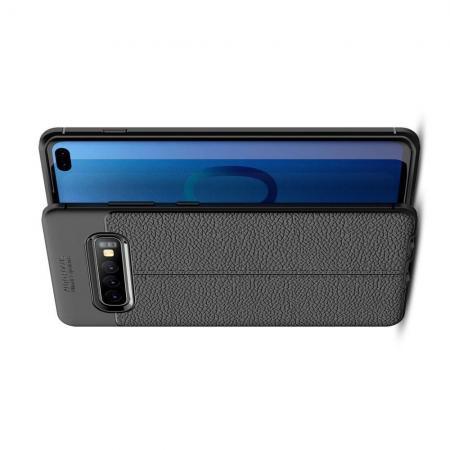 Litchi Grain Leather Силиконовый Накладка Чехол для Samsung Galaxy S10 Plus с Текстурой Кожа Черный