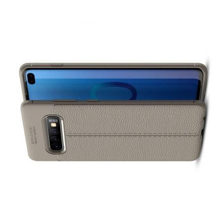 Litchi Grain Leather Силиконовый Накладка Чехол для Samsung Galaxy S10 Plus с Текстурой Кожа Серый