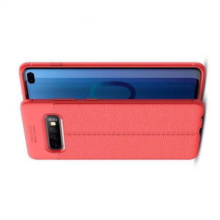 Litchi Grain Leather Силиконовый Накладка Чехол для Samsung Galaxy S10 Plus с Текстурой Кожа Коралловый