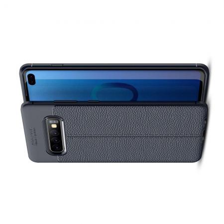 Litchi Grain Leather Силиконовый Накладка Чехол для Samsung Galaxy S10 Plus с Текстурой Кожа Синий