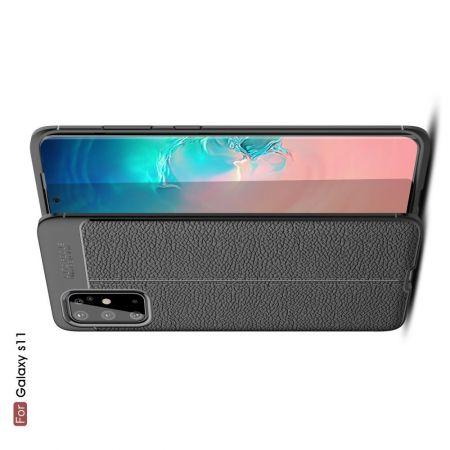 Litchi Grain Leather Силиконовый Накладка Чехол для Samsung Galaxy S20 Plus с Текстурой Кожа Черный