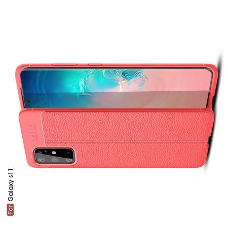 Litchi Grain Leather Силиконовый Накладка Чехол для Samsung Galaxy S20 Plus с Текстурой Кожа Красный