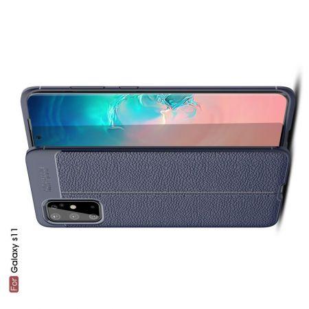Litchi Grain Leather Силиконовый Накладка Чехол для Samsung Galaxy S20 Plus с Текстурой Кожа Синий
