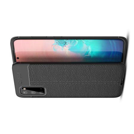 Litchi Grain Leather Силиконовый Накладка Чехол для Samsung Galaxy S20 с Текстурой Кожа Черный