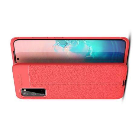 Litchi Grain Leather Силиконовый Накладка Чехол для Samsung Galaxy S20 с Текстурой Кожа Красный