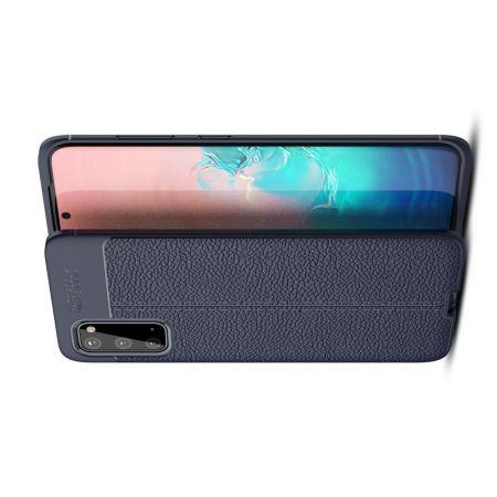 Litchi Grain Leather Силиконовый Накладка Чехол для Samsung Galaxy S20 с Текстурой Кожа Синий