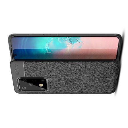 Litchi Grain Leather Силиконовый Накладка Чехол для Samsung Galaxy S20 Ultra с Текстурой Кожа Черный