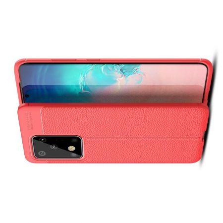 Litchi Grain Leather Силиконовый Накладка Чехол для Samsung Galaxy S20 Ultra с Текстурой Кожа Красный