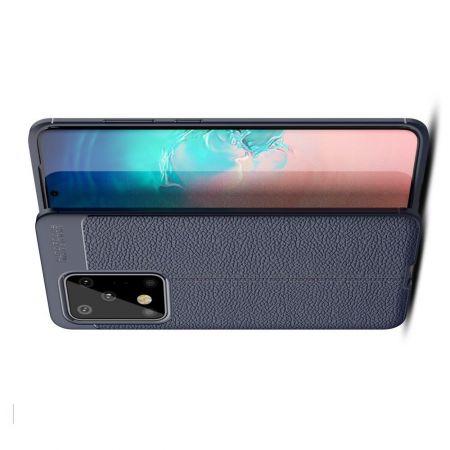 Litchi Grain Leather Силиконовый Накладка Чехол для Samsung Galaxy S20 Ultra с Текстурой Кожа Синий
