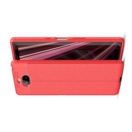 Litchi Grain Leather Силиконовый Накладка Чехол для Sony Xperia 10 Plus с Текстурой Кожа Коралловый