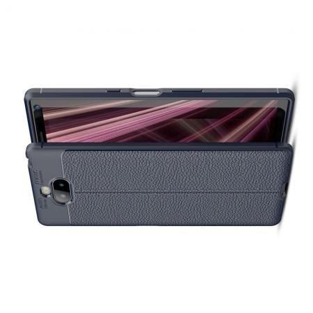 Litchi Grain Leather Силиконовый Накладка Чехол для Sony Xperia 10 Plus с Текстурой Кожа Синий