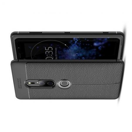 Litchi Grain Leather Силиконовый Накладка Чехол для Sony Xperia XZ2 Premium с Текстурой Кожа Черный