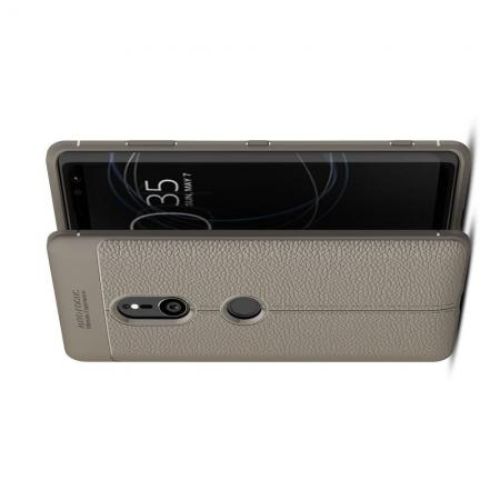 Litchi Grain Leather Силиконовый Накладка Чехол для Sony Xperia XZ3 с Текстурой Кожа Серый