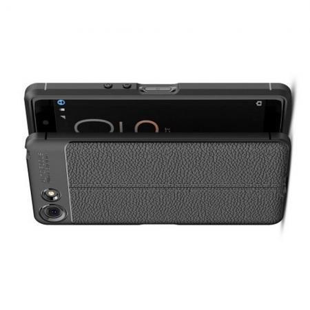 Litchi Grain Leather Силиконовый Накладка Чехол для Sony Xperia XZ4 Compact с Текстурой Кожа Черный
