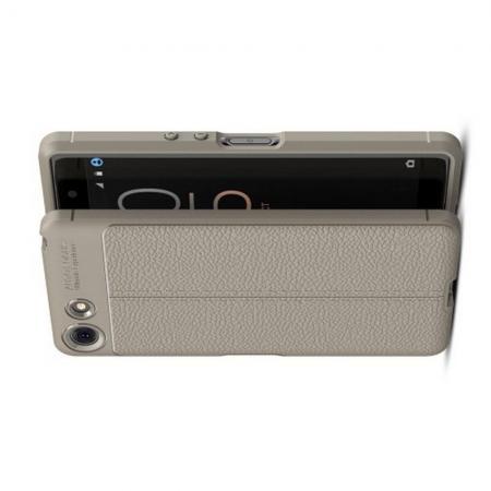 Litchi Grain Leather Силиконовый Накладка Чехол для Sony Xperia XZ4 Compact с Текстурой Кожа Серый