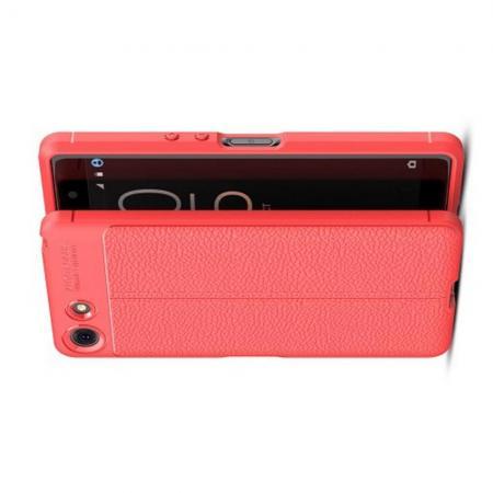 Litchi Grain Leather Силиконовый Накладка Чехол для Sony Xperia XZ4 Compact с Текстурой Кожа Коралловый