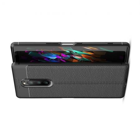 Litchi Grain Leather Силиконовый Накладка Чехол для Sony Xperia 1 с Текстурой Кожа Черный