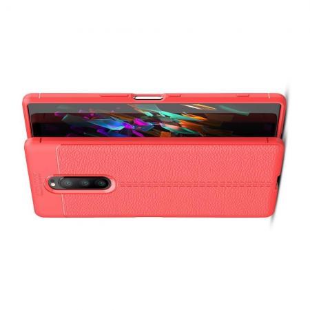 Litchi Grain Leather Силиконовый Накладка Чехол для Sony Xperia 1 с Текстурой Кожа Коралловый