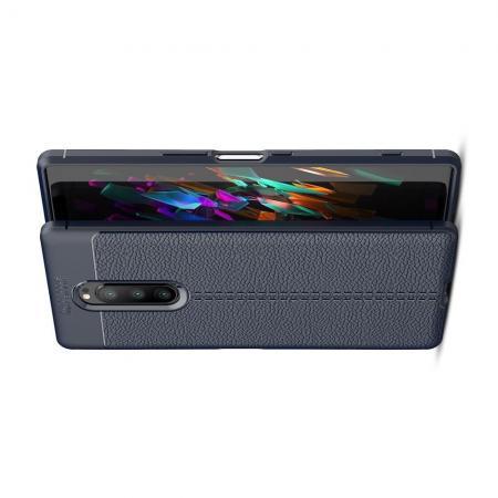 Litchi Grain Leather Силиконовый Накладка Чехол для Sony Xperia 1 с Текстурой Кожа Синий