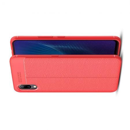 Litchi Grain Leather Силиконовый Накладка Чехол для Vivo NEX S с Текстурой Кожа Красный