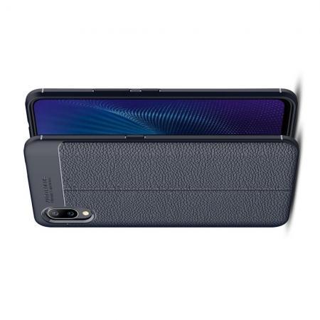 Litchi Grain Leather Силиконовый Накладка Чехол для Vivo NEX S с Текстурой Кожа Синий