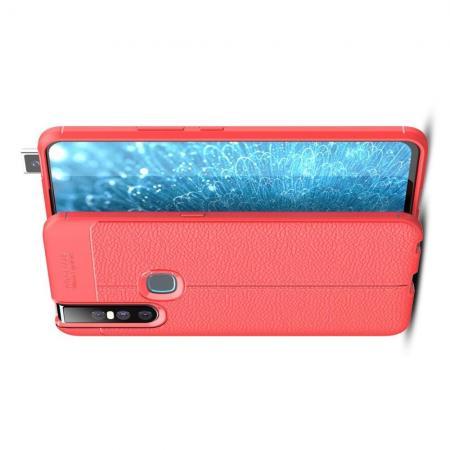 Litchi Grain Leather Силиконовый Накладка Чехол для Vivo V15 с Текстурой Кожа Коралловый