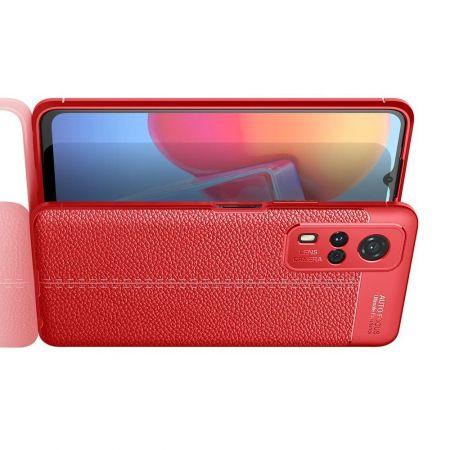 Litchi Grain Leather Силиконовый Накладка Чехол для Vivo Y31 / Vivo Y31 с Текстурой Кожа Красный