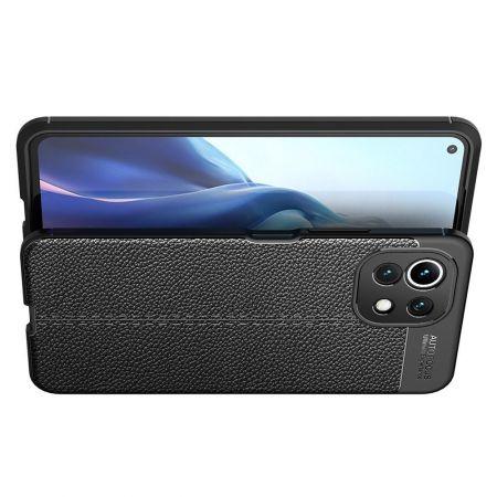Litchi Grain Leather Силиконовый Накладка Чехол для Xiaomi Mi 11 Lite с Текстурой Кожа Черный
