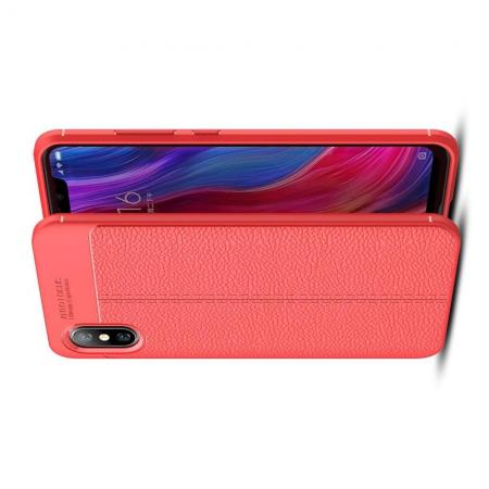Litchi Grain Leather Силиконовый Накладка Чехол для Xiaomi Mi 8 Explorer с Текстурой Кожа Коралловый