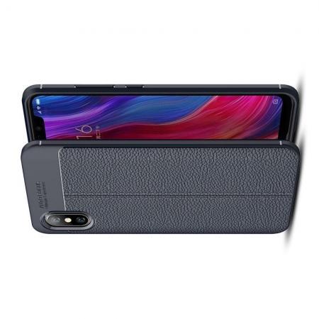 Litchi Grain Leather Силиконовый Накладка Чехол для Xiaomi Mi 8 Explorer с Текстурой Кожа Синий