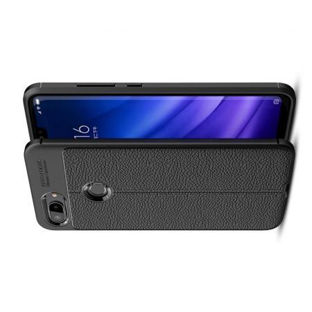 Litchi Grain Leather Силиконовый Накладка Чехол для Xiaomi Mi 8 Lite с Текстурой Кожа Черный