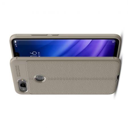 Litchi Grain Leather Силиконовый Накладка Чехол для Xiaomi Mi 8 Lite с Текстурой Кожа Серый
