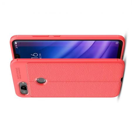 Litchi Grain Leather Силиконовый Накладка Чехол для Xiaomi Mi 8 Lite с Текстурой Кожа Коралловый