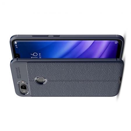 Litchi Grain Leather Силиконовый Накладка Чехол для Xiaomi Mi 8 Lite с Текстурой Кожа Синий