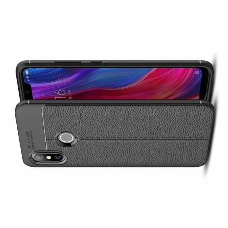 Litchi Grain Leather Силиконовый Накладка Чехол для Xiaomi Mi 8 с Текстурой Кожа Черный