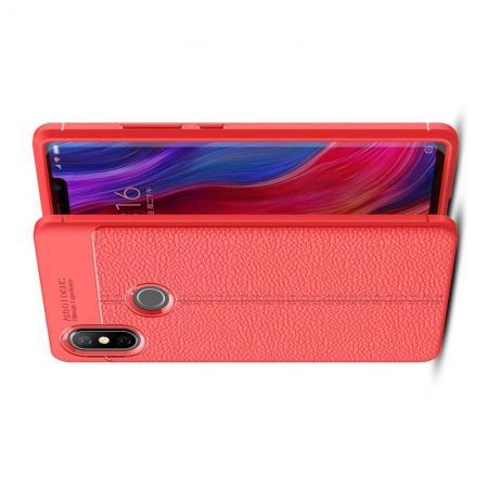 Litchi Grain Leather Силиконовый Накладка Чехол для Xiaomi Mi 8 SE с Текстурой Кожа Коралловый